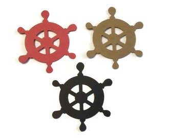 25 Pirate Wheel  Die Cut Tags, Pirate Theme Baby Shower, Pirate Theme Birthday Party, Pirate Party, Pirate Decor, DIY