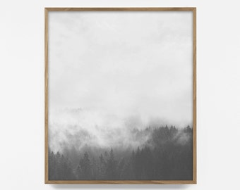 Forest Print, Fog Forest Art, Printable Fog Wood, Black And White Nature, Minimalist Nature Wall Art, Forest Mist, Minimalist Wall Art, BW