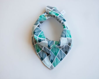 Bandana Bib -  Modern Diamonds Green, Grey, Black and White - Gender Neutral