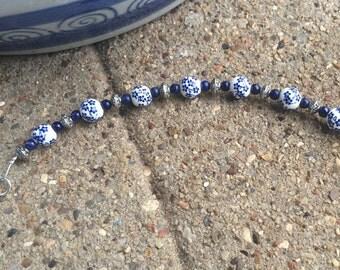 Blue and White Flower Bracelet