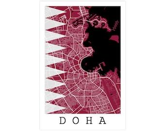 Doha Street Map, Doha Qatar, Modern Art Print, Doha Map, Doha Decor, Doha Gift Idea, Doha Art, Doha Poster, Doha Wall Art, Doha Qatar Flag