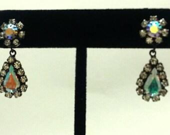 Vintage Water Drop Aurora Borealis Crystal Rhinestone Rhodium Plated Earrings