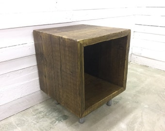 Reclaimed Wood Record Storage Cube
