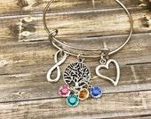Mother Bracelet, Gift for Mom Bracelet, Best Mom Jewelry, Heart Bracelet, Infinity Bracelet, Custom Bracelet for Mom, Personalized Stones