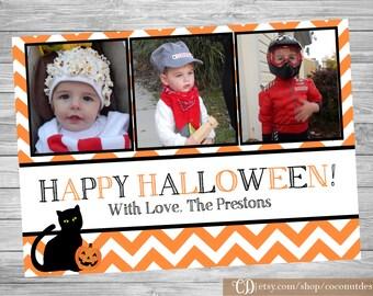 Halloween Photo Card / Halloween Card / Happy Halloween / Black and Orange / Digital File