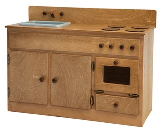 Children's Kid's Maple KITCHEN Play Set Play Furniture Sink Stove Combo in 2 Finishes - Amish Made USA - Model# 276