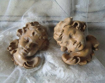 Vintage 1 some wonderful small putti Angel heads Angels Germany Alpine wood carving art