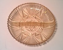 Divided Pink Depression Glass Dish