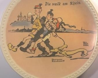 "Vintage Norman Rockwell ""Die Walk Am Rhein"" Wall Plate"