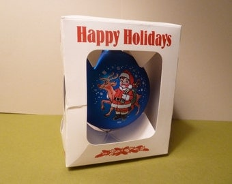 Christmas Ornament, Campbells Soup Santa Boy & Rudolph wishing Happy Holidays, Circa 1993