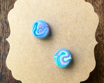 Handmade Little Bits Earrings Micro Super Swirl Colourful Rainbow Blue Pink Green and Yellow Stud Earrings w Polymer Clay