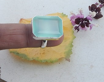 Cushion Faceted Aqua Chalcedony Gemstone 925 Sterling silver Ring, Solid Sterling Silver Chalcedony Ring