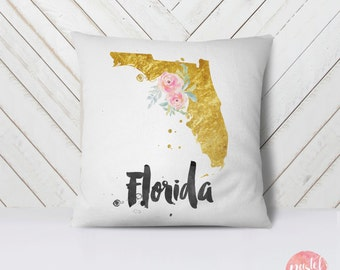 Us State Florida Map Outline Floral Design Throw Pillow Case Pillow Cover Home