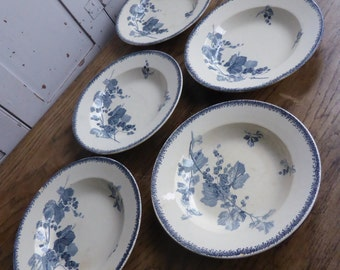 Set 5 antique French blue white china soup plates dishes bowls Bourgeois Paris