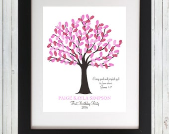Birthday Party Fingerprint Tree First Birthday Alternative Guest Book Room Decor Gift - Printable Wall Art