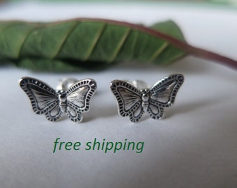 Silver butterfly stud earrings in 92.5 sterling silver