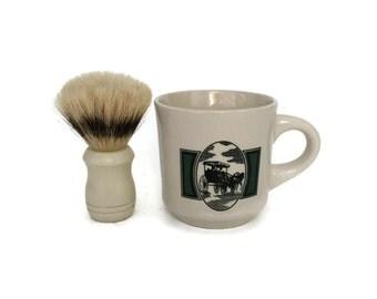 Wet Shaving Brush and Mug, Shaving Brush Set, Shaving Mug and Brush Set