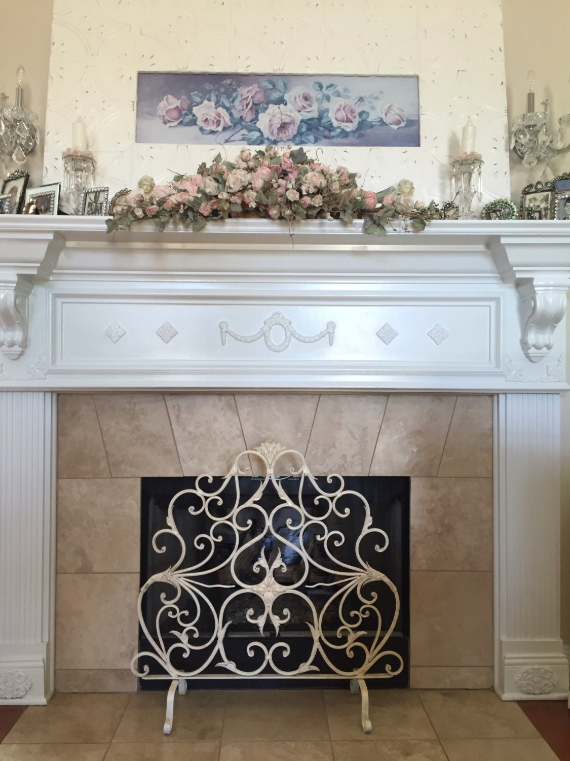 french country scroll fireplace screen ornate. Black Bedroom Furniture Sets. Home Design Ideas