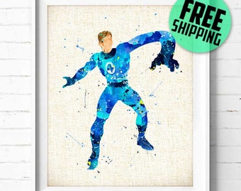 Fantastic Four Print, Mister Fantastic, Superhero Poster, Marvel Comic, Superhero art print Watercolor Painting, Wall art, Home Decor NA263