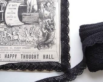 Black cotton lace trim - Black crochet cotton lace ribbon 20 mm - Cotton lace trim - Black cotton ribbon vintage style. UK Seller