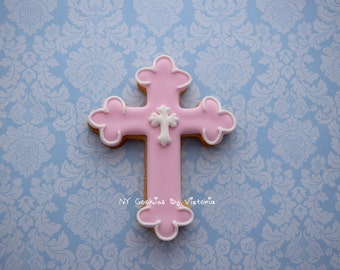 12 - Delicious Cross Cookies for Christening, Baptism or First Communion- 1 Dozen - Fresh Cookies