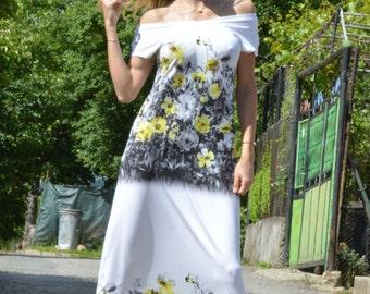 Cotton Flowers Dress, Plus Size Maxi Dress, Party Dress, Elegant Evening Dress, Off Shoulder Dress by SSDfashion