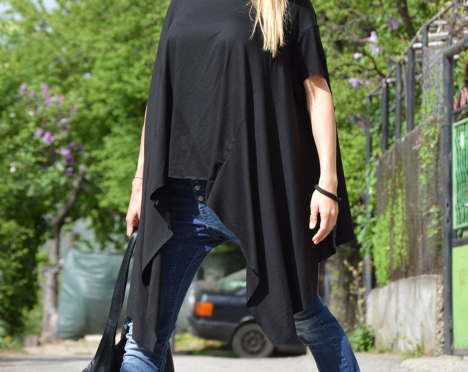 Asymmetric Black Top, Extravagant Tunic Top, Casual Short Sleeve Top, Loose Summer Blouse by SSDfashion