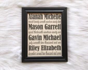 Cotton Home Decor, Kids Names, Family Names Decor, Linen, Burlap, Fabric Print, Birthdays, Kids Names and Birthdays,