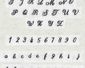 Cursive alphabet machine embroidery