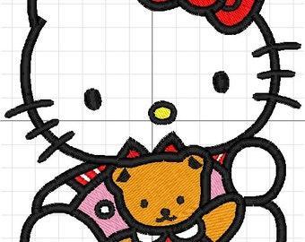 hello kitty applique machine embroidery