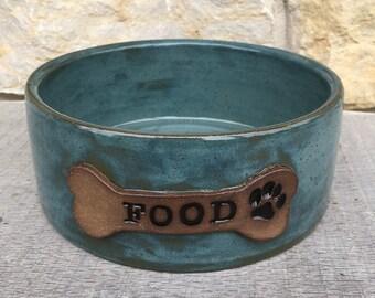 Dog bowl, pottery personalized dog dish, custom dog food bowl