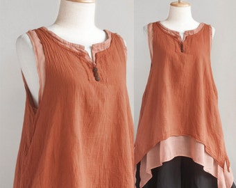 SALE, Women Sleeveless Cotton Summer Top, Doulble Layer Asymetrical Top in Orange