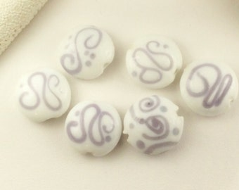 6-Lampwork Coin beads with dots,16mm white with lilac Lampwork glass, lilac and white puff coin beads,uniqueLampwork beads, L221, Ships USA