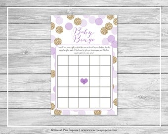 Purple and Gold Baby Shower Baby Bingo Game - Printable Baby Shower Baby Bingo Game - Purple and Gold Baby Shower - Baby Bingo Game - SP109