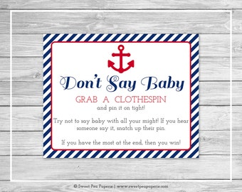 Nautical Baby Shower Don't Say Baby Game - Printable Baby Shower Don't Say Baby Game - Navy Red Baby Shower - Don't Say Baby Sign - SP118