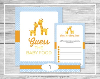 Giraffe Baby Shower Guess The Baby Food Game - Printable Baby Shower Guess Baby Food Game - Blue Giraffe Baby Shower - Baby Food - SP130