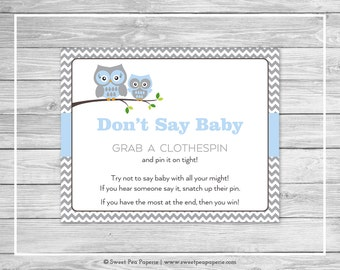 Owl Baby Shower Don't Say Baby Game - Printable Baby Shower Don't Say Baby Game - Blue Owl Baby Shower - Don't Say Baby - Owl Shower - SP135
