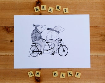 Bears cycling tandem a4 print bear print quirky animal print monochrome animal print quirky art print bears dressed print bike and bear a4