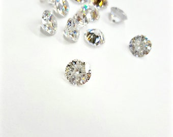 """5 Pieces Crystal """"White"""" Cubic Zirconia Stones, Special 'Gabriella' Cut, Round 7mm and 5.25mm"""