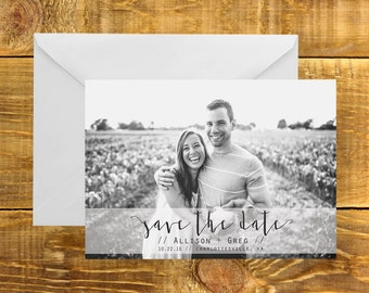 Country Modern Save the Date | Calligraphy, Rustic, Hand Script, Modern, Photo Card, Outdoors, Printable Save the Date