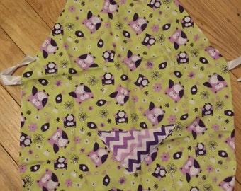 Handmade girls apron. Owls. Child apron.