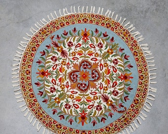4 Ft Round, Turquoise Area Rug, Circular Rugs, 5 Ft Round, Floral