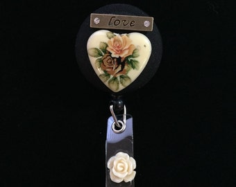 Vintage Valentine Garden-Nurse Retractable ID Badge Reel/ RN Badge Holder/Doctor Badge Reel/Nurse Badge Holder/Nursing Student Gift