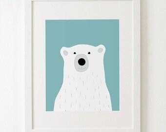 Polar bear print, polar bear kids art, polar bear nursery wall art, zoo animal nursery, pink nursery art, animal prints