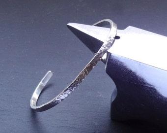 Sterling Silver hammered cuff bracelet bangle