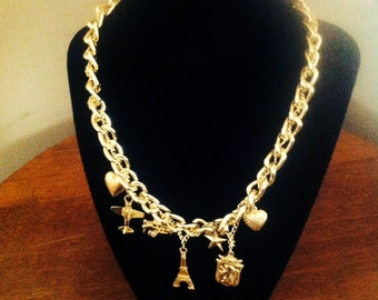 Vintage Gold Tone Charm Necklace