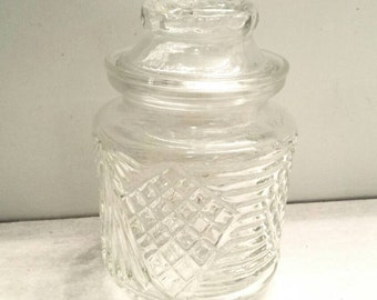 Vintage glass rose and diamond container
