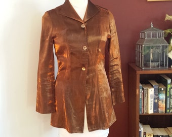bronze colored blouse, retro blouse,