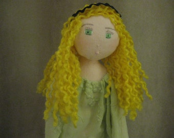 Flannel blond doll with curly long hair
