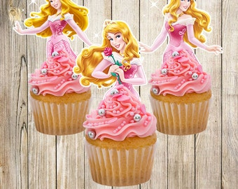 PRINTABLE3  Princess Aurora Cupcake Toppers / Sleeping Beauty Cupcake Toppers / Instant Download / Printable Party Favors